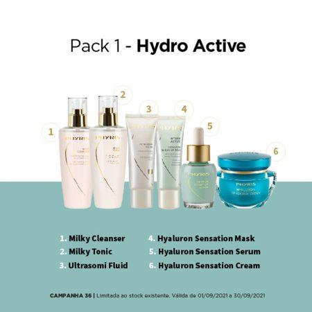 Pack de hidratação com leite de limpeza e cremes com ácido hialurónico da Phyris. Para uma hidratação cuidada e profunda da pele do rosto.