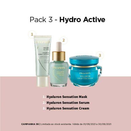 Pack de hidratação com máscara, sérum e creme com ácido hialurónico da Phyris. Para uma hidratação cuidada e profunda da pele do rosto.