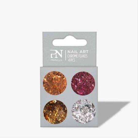 As decorações de nail art Chrome Flakes permitem-lhe criar efeitos texturizados nos seus desenhos de nail art.