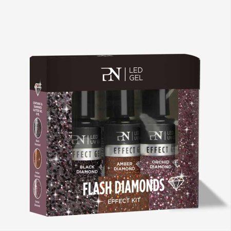 Os géis Flash Diamonds são muito mais do que géis de glitter comuns: mesmo no escuro eles vão iluminar as suas unhas, como mil diamantes!